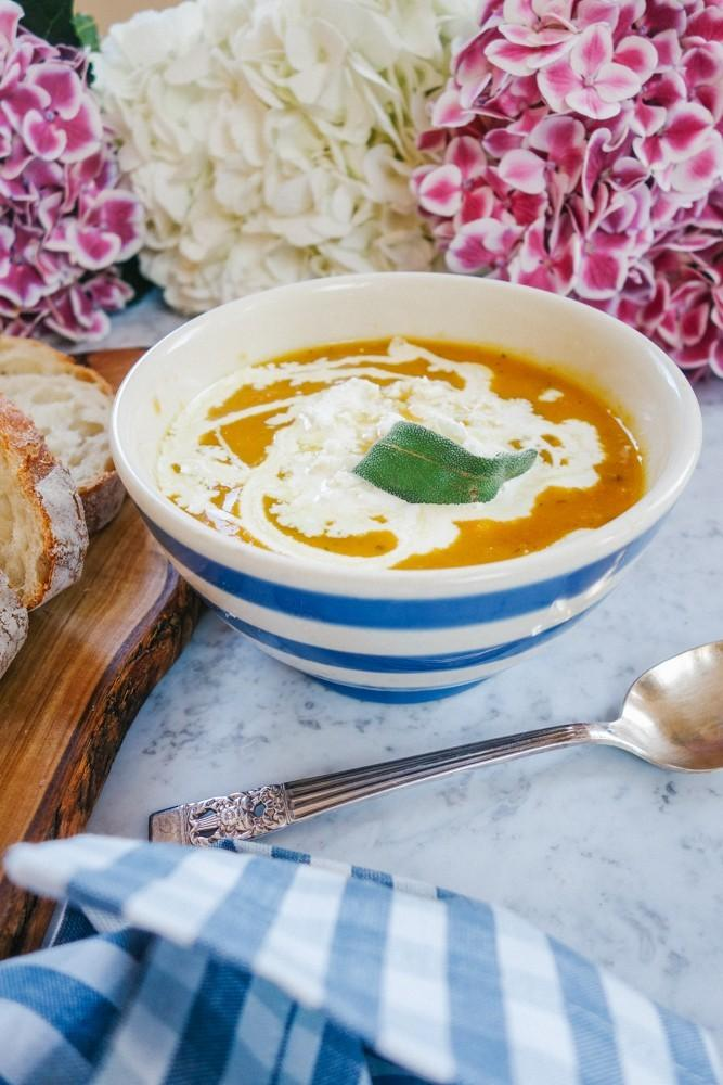 суп из тыквы с фетой и шалфеем 1