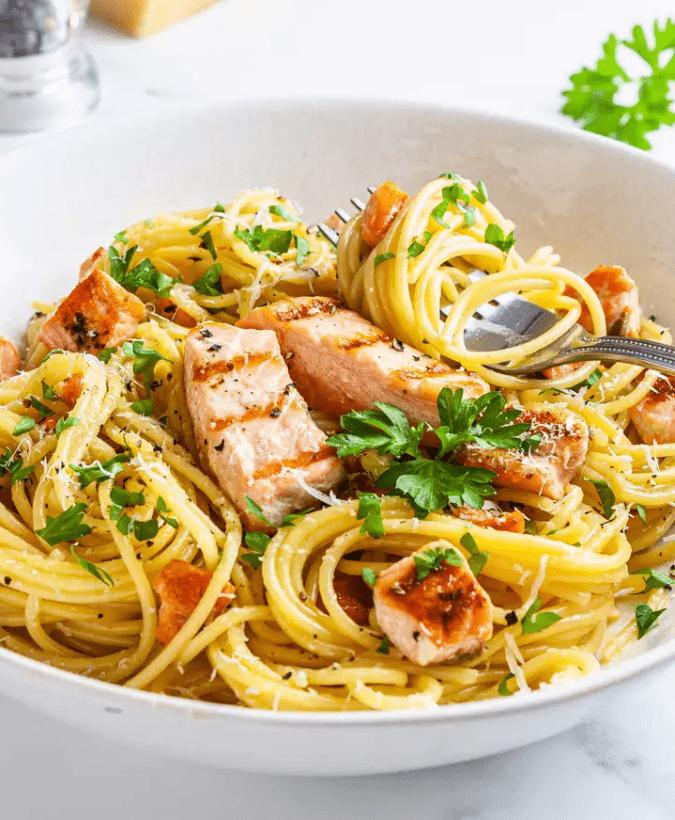 Карбонара с лососем без сливок 4