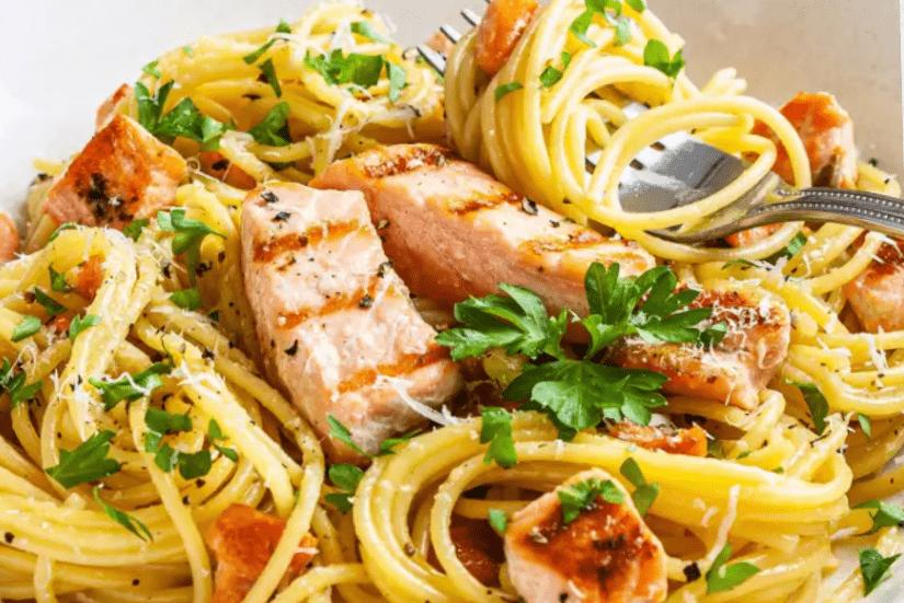 Карбонара с лососем без сливок