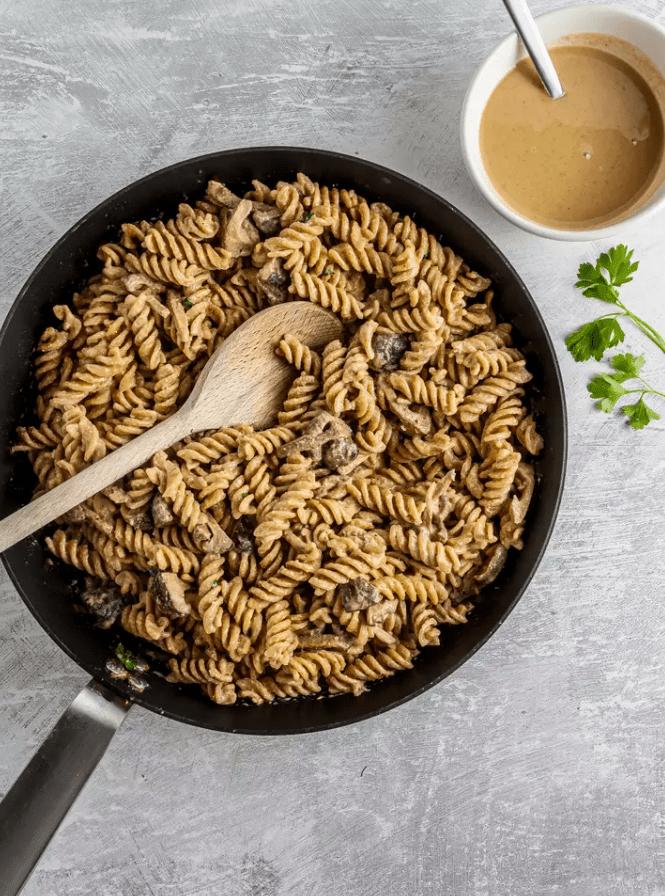Веганская паста тахини без сливок с грибами 5