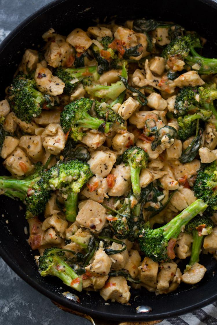 Цыпленок с чесноком и брокколи и шпинатом 2