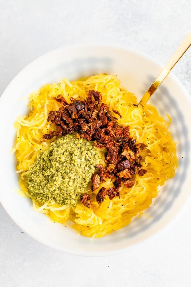Спагетти из тыквы с песто 2