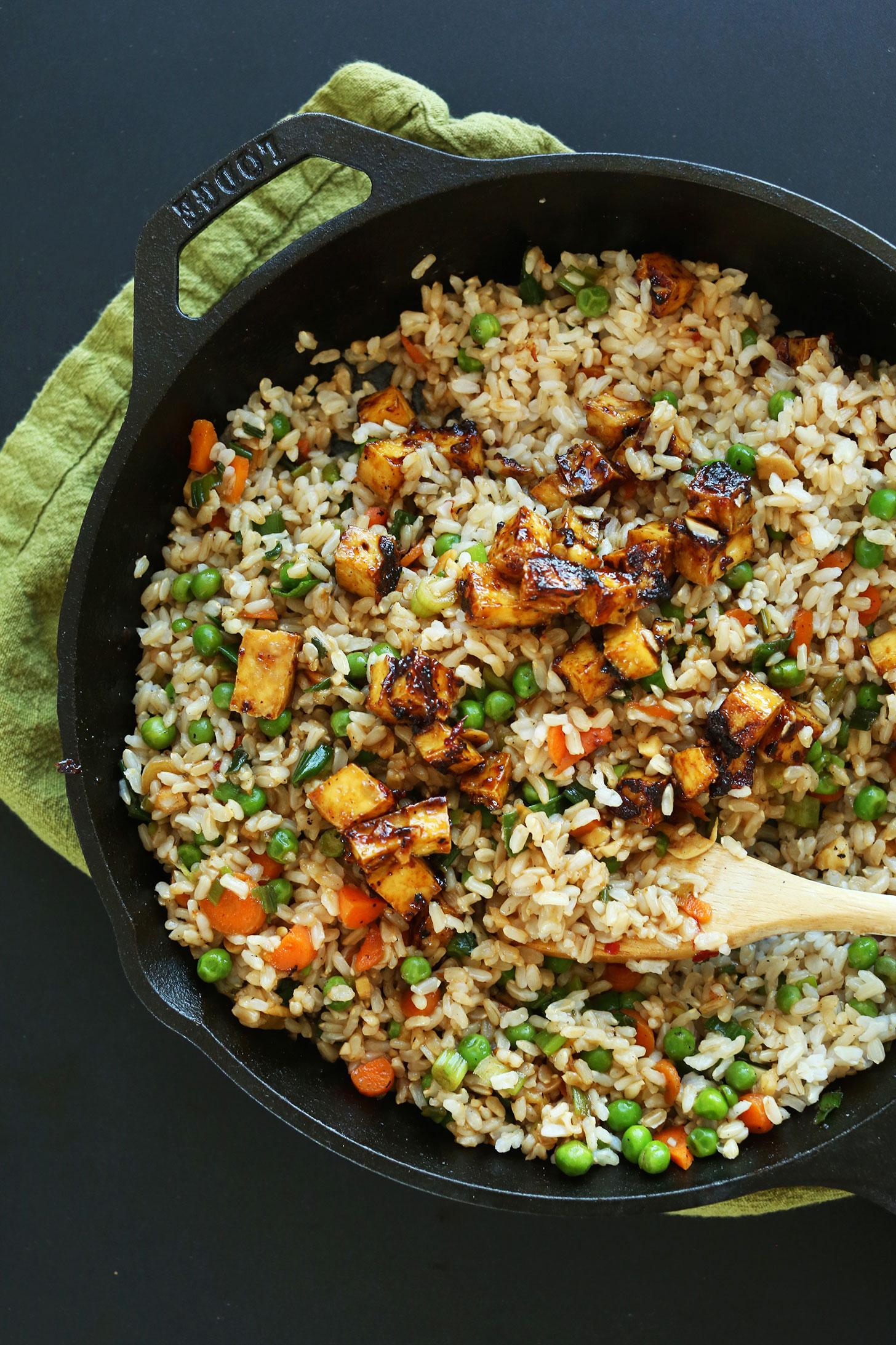 Жареный рис с тофу и овощами 4