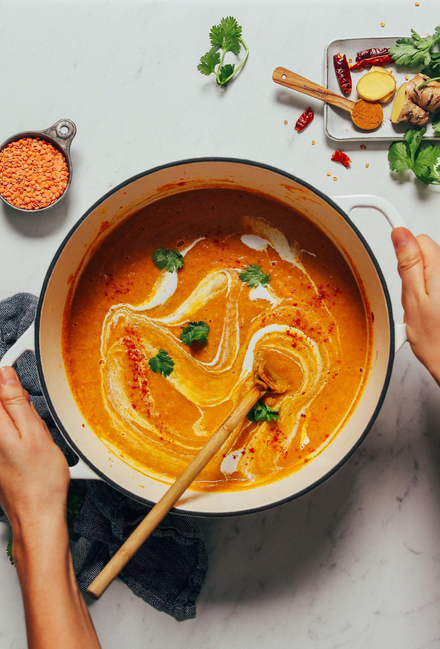 Сливочный суп из цветной капусты и чечевицы с карри 5
