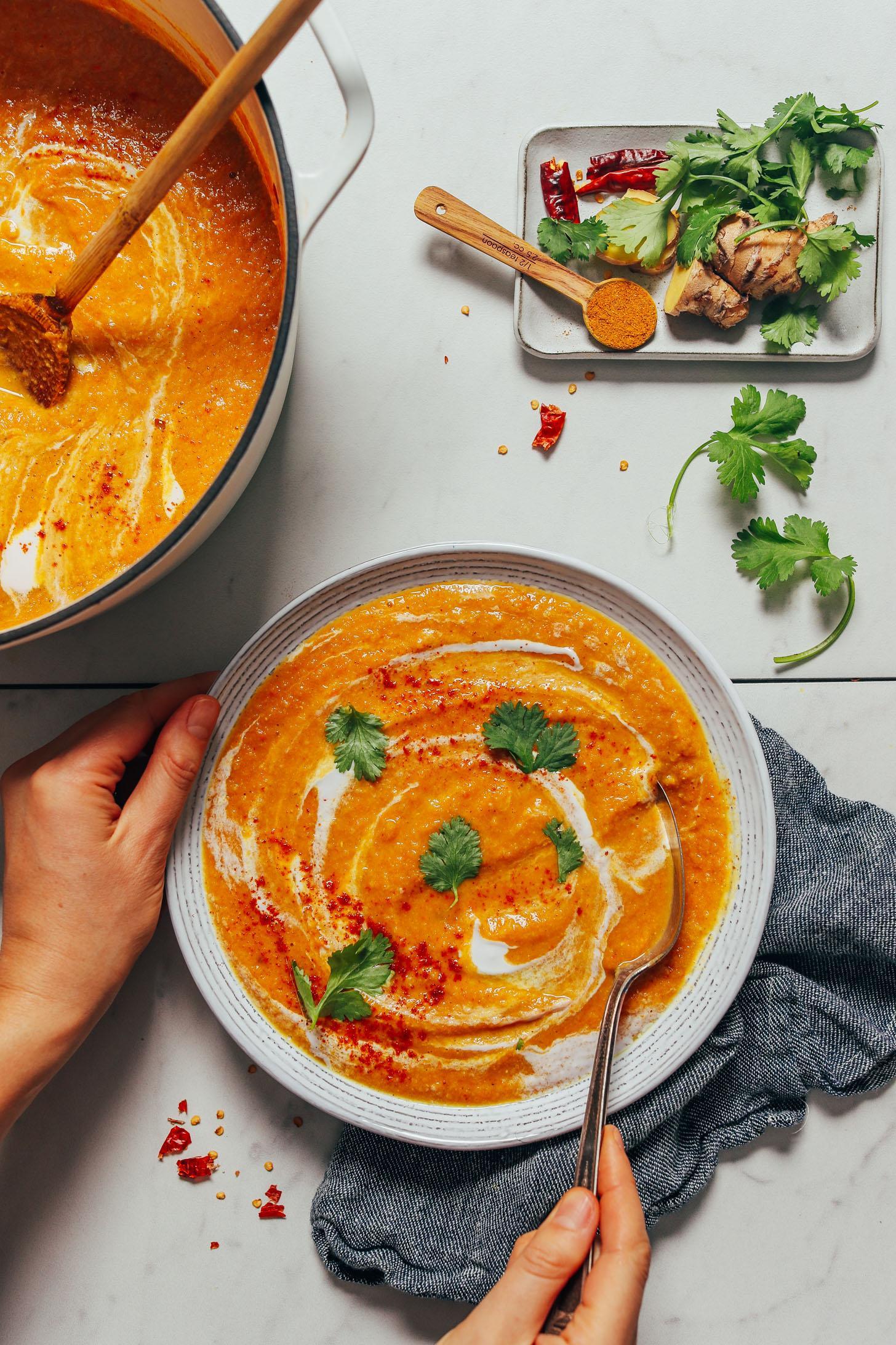 Сливочный суп из цветной капусты и чечевицы с карри 6