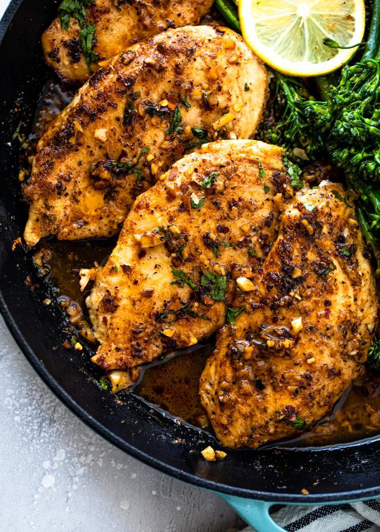 Цыпленок с чесночным маслом и брокколи 2